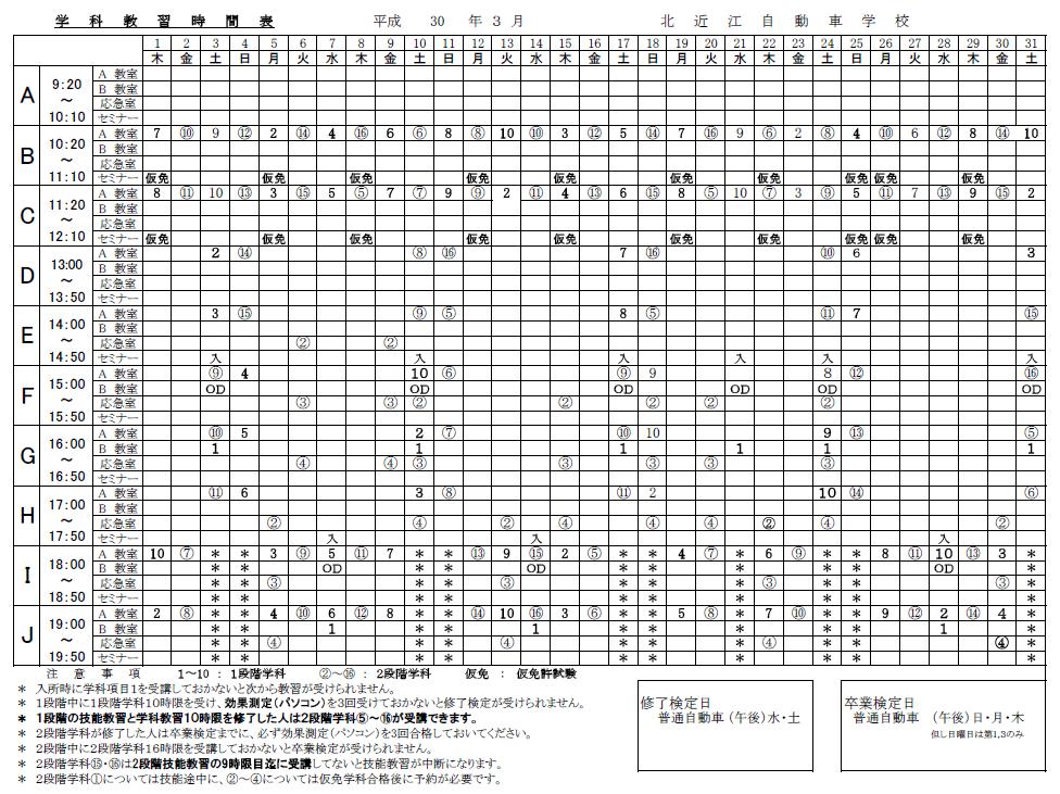 2018年03月の学科時間割表